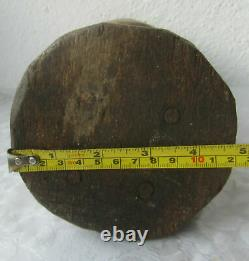 13+ hand-hewn Wooden mortar 19thC Antique Primitive old bowl with iron band