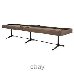 156.3 L Shuffleboard Table Hand Crafted Smoked Oak Wood Black Cast Iron Base
