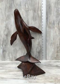 (17.25 H) Ironwood Whale Sculpture Hand-Carved by Sonoran Artisan (New Carving)
