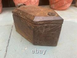 1700's Ancient Old Wooden Hand Craved Tika Box With Iron Lock