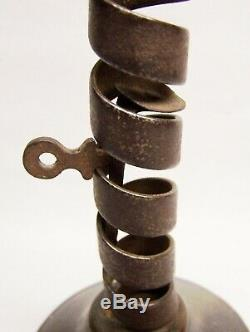 1700's Hand Forged Iron Spiral Push Up Courting Candlestick withWood Base