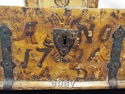 1786 Swedish Hand Painted Bible Box Iron and Wood- Hand-forged Iron Bands-NICE