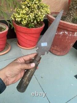 17th Ancient Iron Hand Forged Mughal Period Spear Lance Head Bhala Sword