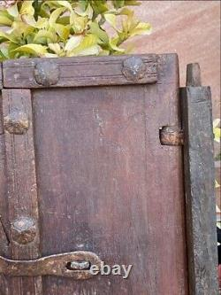 17th C Ancient Wood Hand Carved Iron Floral Work Painted Window Door