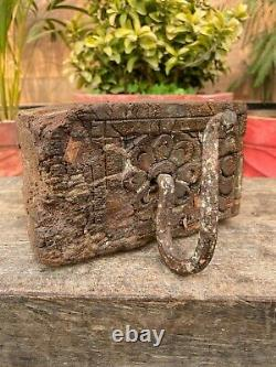 17th Rare Old Ancient Wood Iron Hand Carved Blue Wall Fixing Hook Hanger Panel
