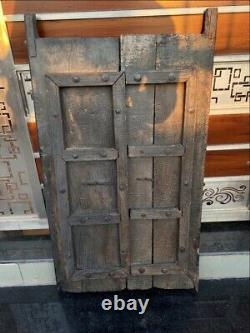 1800's Antique Wood Hand Crafted Iron Work Old House Castle 43 X 24'' Door Panel
