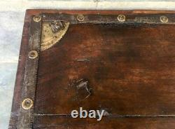 1890's Antique Wood Hand Carved Brass Iron Work Beautiful Lower Coffee Table