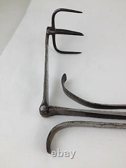 19th CENTURY FINELY MADE HAND WROUGHT IRON & WOOD APPLE ROASTER, LOVELY PATINA