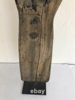 21 Large Old Vintage Hand & Forearm Carved Wood Sculpture with Cast Iron Pedestal