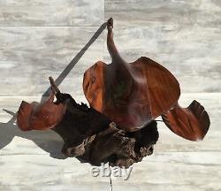 (21L) Ironwood Stingray Sculpture Hand-Carved by Sonoran Artist (Large)