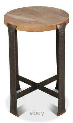 24 T Simone Set of 2 Side Table Acacia Wood Top Hand Forged Iron Brass Feet