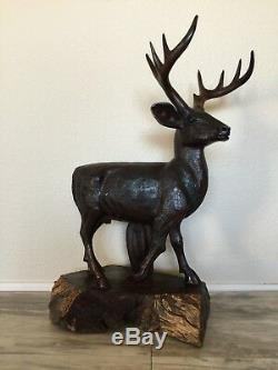 (26H) Ironwood Deer Sculpture Hand-Carved by Sonoran Artist (Large)