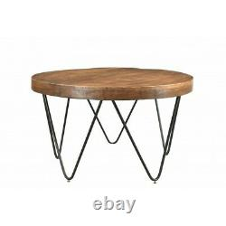 32 W Coffee Table Hand Crafted Solid Mango Wood Industiral Iron Hairpin Legs