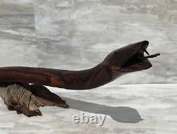 (36.5L) Ironwood Snake Sculpture Hand-Carved by Sonoran Artisan (Large Carving)