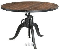 48 W Talbot Dining Table Solid Teak Wood Top Industrial Iron Hand Crank Base