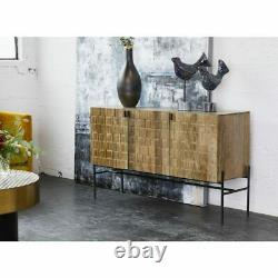 51.5 L Sideboard Carved Transitional Iron Base & Pulls Hand Crafted Mango Wood