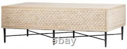 54 L Coffee Table Hand Crafted Oak Repeating Pattern Along Sides Iron Base