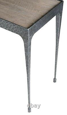 71 W Isaiah console table iron base brass finish pine distressed hand made