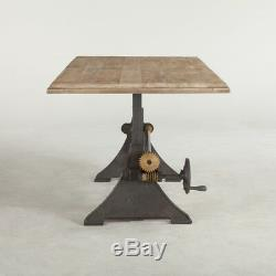 72 Adjustable Dining Table Solid Mango Wood Hand Crank Iron Base Industrial