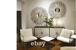 79 L Alessa Sideboard Recycled Elm Wood Radial Pattern Doors Hand Forged Iron