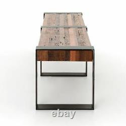 80 L Chapman Bench Hand Crafted Reclaimed Peroba Wood Square Iron Legs Rustic