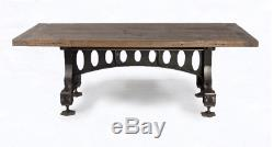 86 L Old Industrial Dining Table Hand Crafted Reclaimed Woods Cast Iron Base