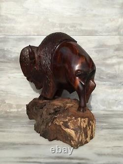 (9.75) Ironwood Buffalo Sculpture Hand-Carved by Sonoran Artisan (New)
