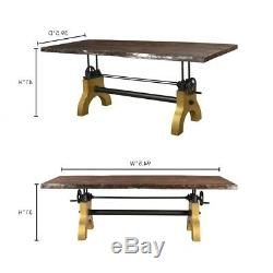 94.5 L Adjustable Dining Table Cast Iron Hand Crank Solid Acacia Wood Steel