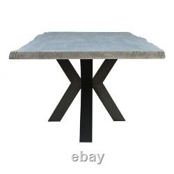 98 L Large Dining Table Hand Crafted Solid Acacia Wood Washed Modern Iron Base