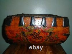 A Lovely Hand Painted Chinese Wood and Iron Rice Pail/Bucket