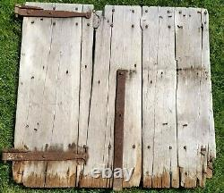 ANTIQUE OLD RUSTIC BARN DOOR HAND FORGED HINGES With IRON PINS 19TH CENTURY