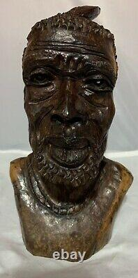 African Man Chief Feather Ironwood Artist Sculptures Hand Carved Wood Bust 10