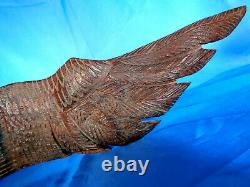 American Eagle Vintage Beautiful Quality Hand Carved Iron Wood Standing 16.3/4