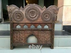 Ancient Wooden Iron Brass 2 Side Horse Figure Jharoka Hand Carved Wall Panel