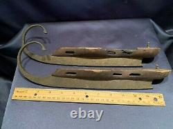 Antique 19C Wood + Hand Forged Iron Ice Skates Curl Up Front Blades Christmas
