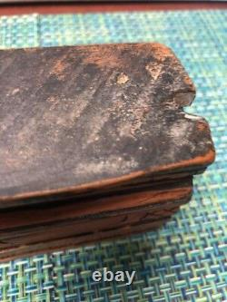 Antique 19th Century hand carved Iron wood Door Casing Or Molding Piece 16 Long