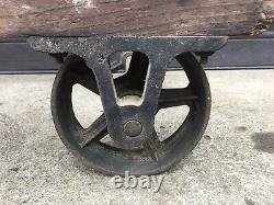 Antique 2 Wheeled Industrial Fairbanks Hand Cart / Dolly / Truck Wood and Iron