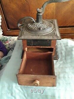 Antique Arcade Imperial Hand Cranked Wood and Cast Iron Coffee Grinder w Drawer