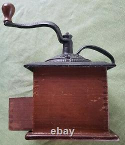 Antique Cast Iron Hand Cranked Coffee Mill Grinder Wood Box Drawer
