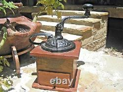 Antique Coffee Grinder wood with Iron hand crank