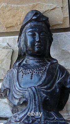 Antique Early 19c Chinese Ironwood Hand Carved Bust Of Quan-yin, Sealed