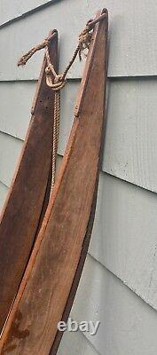 Antique Hand Made Wood Snow Sled With Pegs Heavy Irons Bars Ornate Rare Sledding