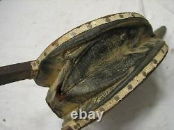 Antique Handmade Fireplace Bellows Leather & Wood Tool Iron Hand Made