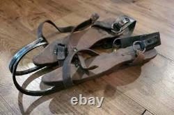 Antique Ice Skates Hand Forged Iron Curl Tip and Wood Leather Straps