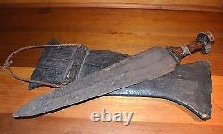 Antique Mongo African Tribe Hand Forge Iron Sword Knife Dagger Wooden Scabbard