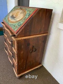 Antique Nautical Hand Painted Folk Art Ships Chest of Drawers/ Desk WOW