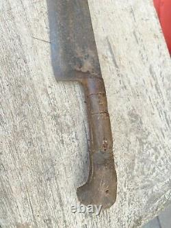 Antique Old Rare Hand Crafted Iron Blade Dagger Knife Khanger With Wooden Handle