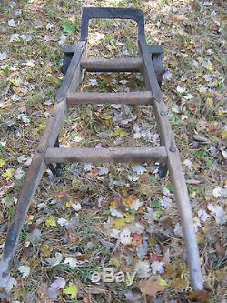 Antique Primitive Industrial Wood Cast Iron Dolly Hand Cart Truck Garden Table