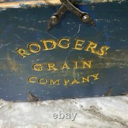 Antique Primitive Rodgers Grain Co Wooden Blue Bucket Hand Forged Iron Handle