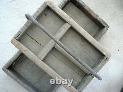 Antique Primitive Wood & Hand Forged Iron Farriers Tray Tool Tote Box 2 Levels
